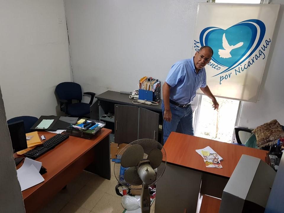 Asaltan oficinas de Movimiento por Nicaragua. Foto: Canal 10.