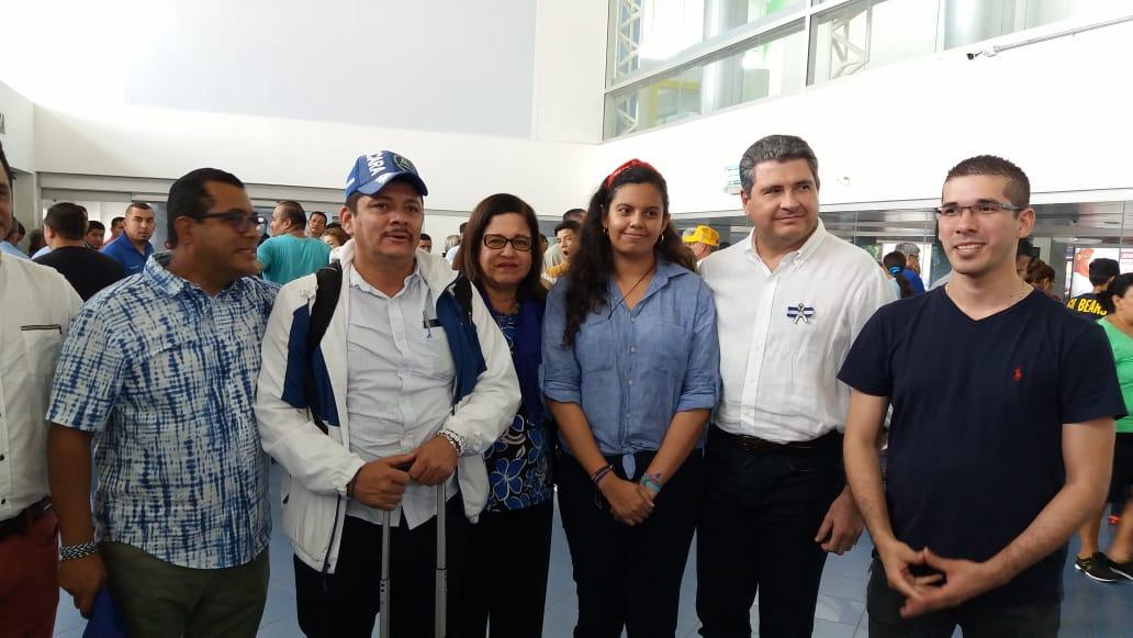 Medardo Mairena, junto a miembros de la UNAB y de la ACJD. Foto: María Gómez / Artículo 66