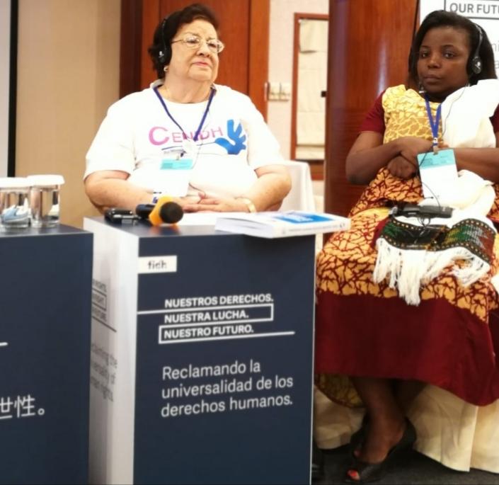 La presidenta del Cenidh, Dra. Vilma Núñez durante el 40 Congreso de la FIDH. Foto: Cortesía / Artículo 66
