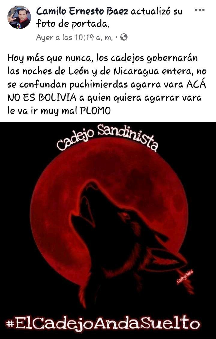 Desde su perfil en facebook amenaza a los nicaragüenses que estén en contra del régimen.