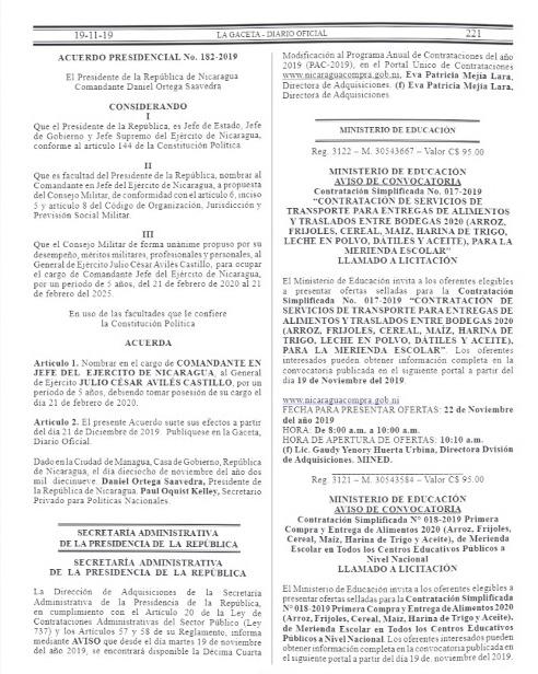Diario Oficial La Gaceta en el Acuerdo Presidencial N. 182-2019