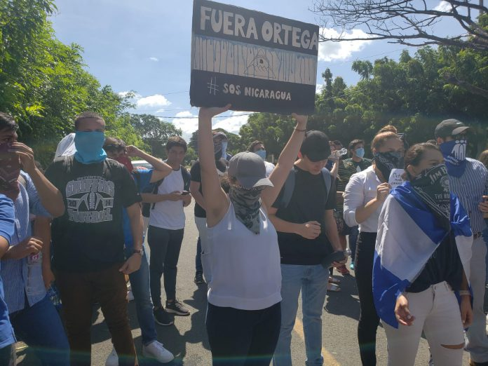 Estudiantes de la UAM realizan protesta en contra de la represión policial perpetrados por el régimen de Ortega
