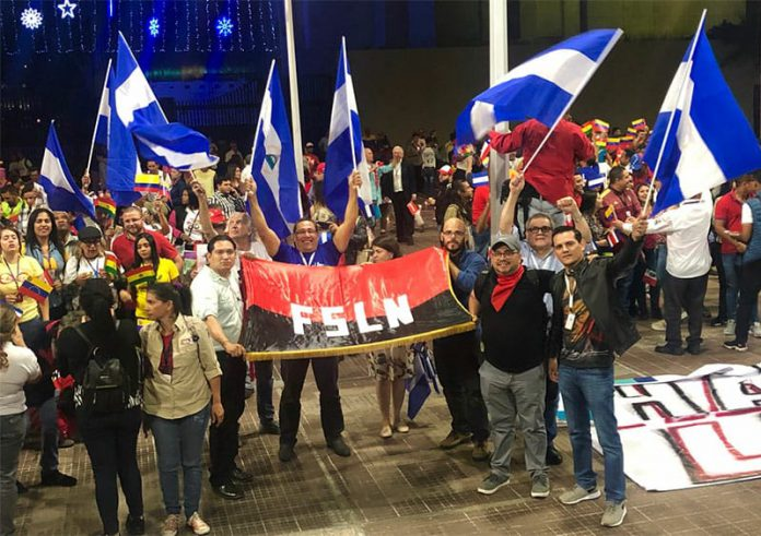 Periodistas orteguistas de gira por Venezuela, participando del congreso Internacional de la Comunicación. Foto: Tomada de las redes sociales