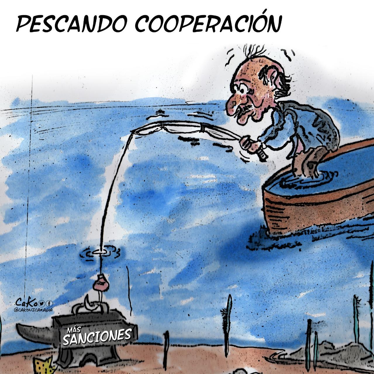 """La Caricatura: """"El dictador pescando cooperación"""""""