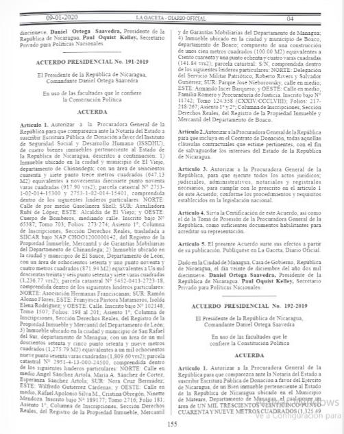 Acuerdos presidenciales publicados en La Gaceta, este jueves, nueve de enero.