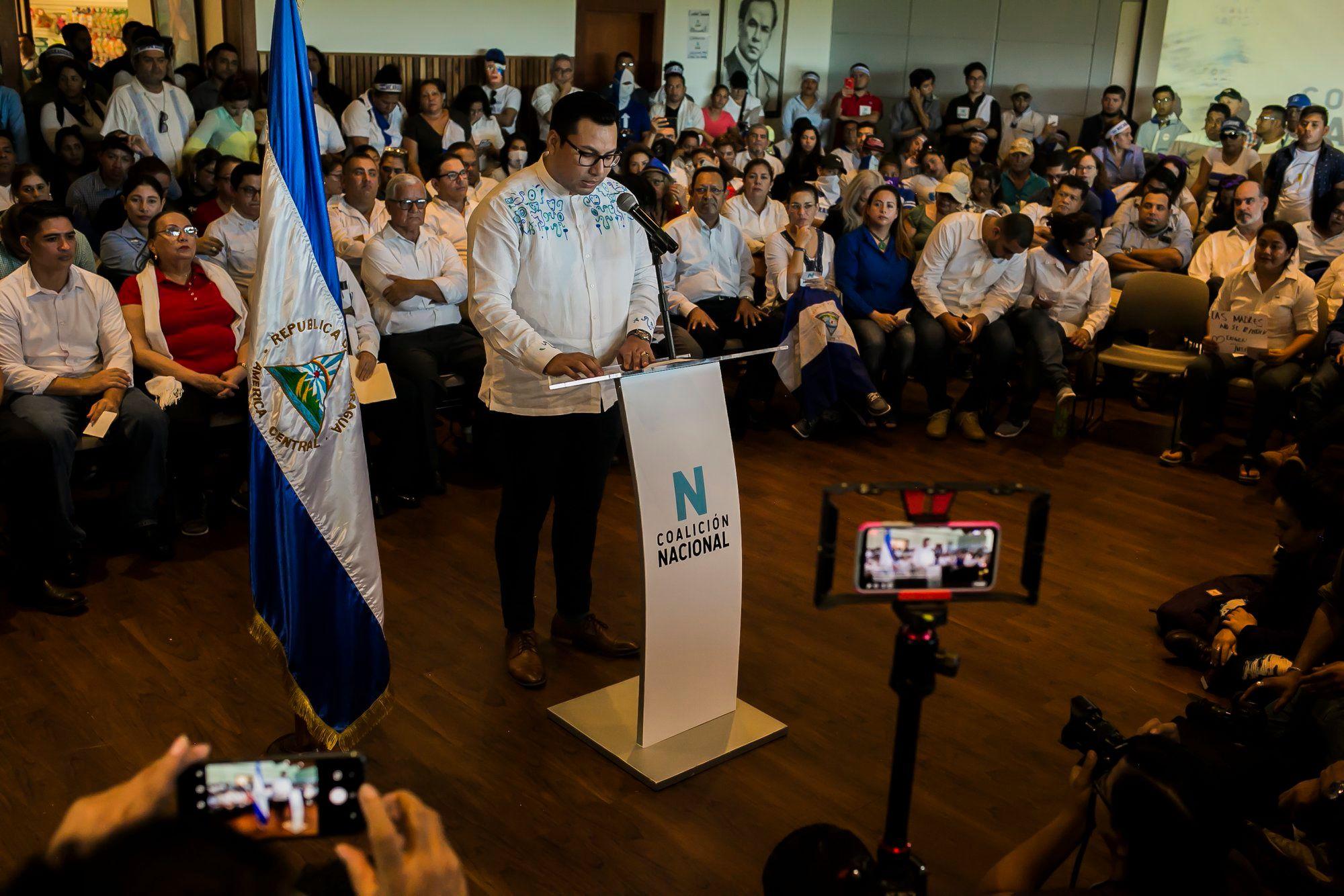 Proclamación de la Coalición Nacional, el 25 de febrero de 2020. Foto: Jorge Mejía Peralta.
