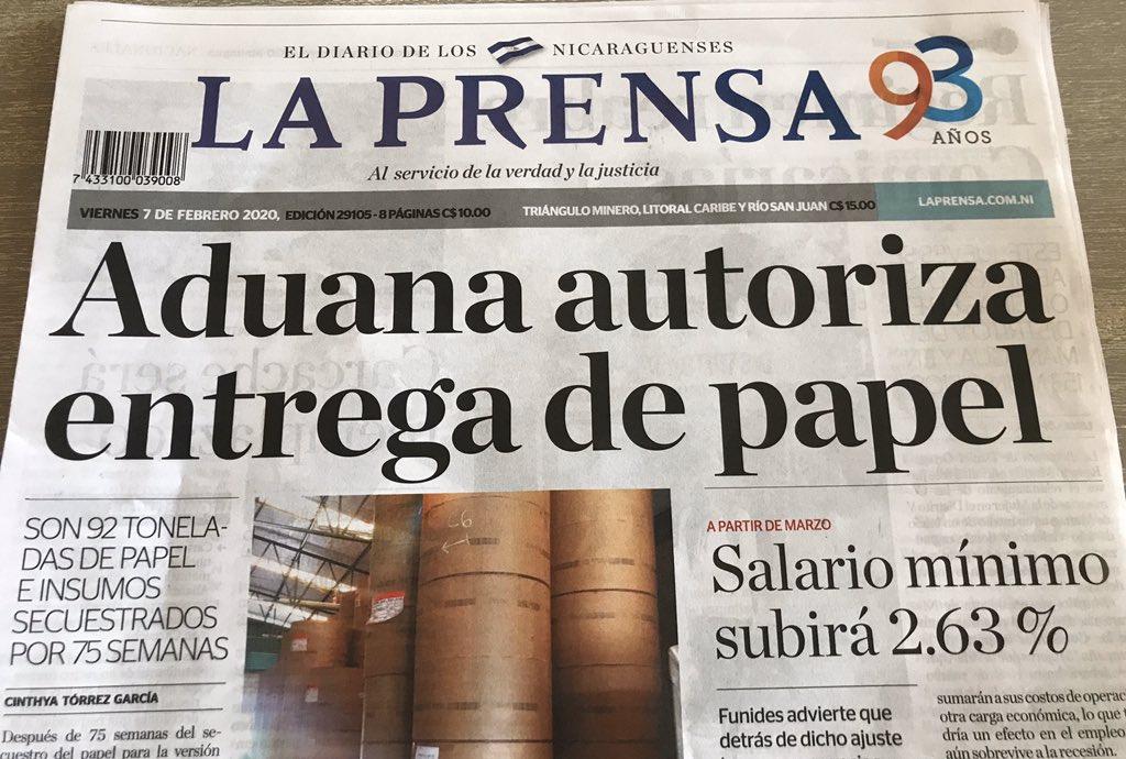 La entrega de insumos a La Prensa es «un paso positivo» para restablecer la libertad de expresión en Nicaragua y un «triunfo» del periodismo independiente