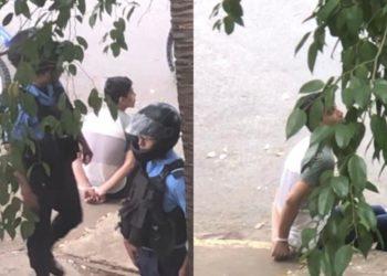 Policía orteguista secuestra al estudiante Flavio Latino en el sector de la UCA. Foto: Cortesía
