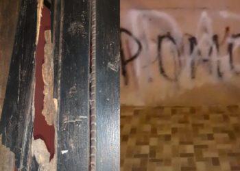 Paramilitares encapuchados atacan con piedras la vivienda del exreo político Bayron Estrada. Foto: Cortesía