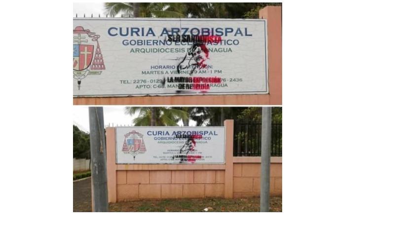 Así fue marcada la Curia Arzobispal en Las Sierritas Managua