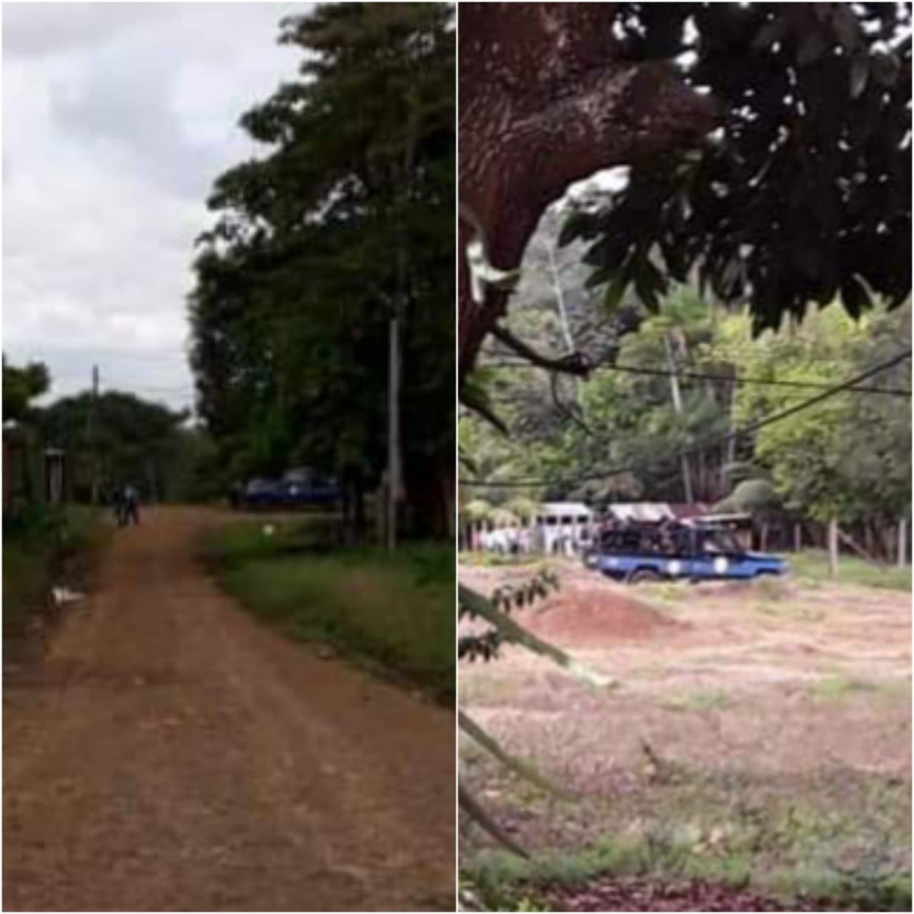 Imágenes de las patrullas que asedian el local en Nueva Guinea donde se encuentra Medardo Mairena. Foto: Cortesía