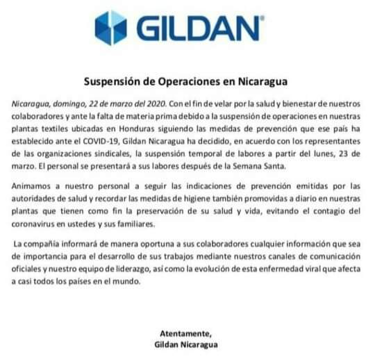 Comunicado de Gildan Nicaragua