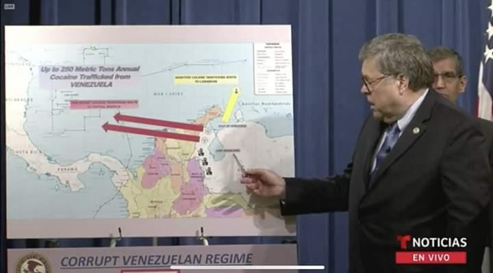 El Departamento de Justicia realizó un gráfico con flechas que señalan la ruta de la droga desde puertos venezolanos hacia Centroamérica. Las flechas apuntan directamente a Nicaragua.