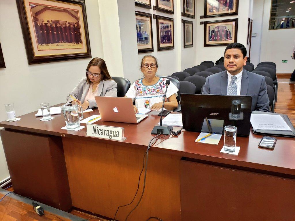 Los representantes del régimen Ortega Murillo ante la Corte IDH. Foto: Cortesía