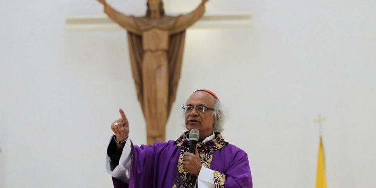 Cardenal Leopoldo Brenes, oficiando una eucaristía de Cuaresma en Catedral Metropolitana de Managua. Foto/Cortesía: Sputnik News
