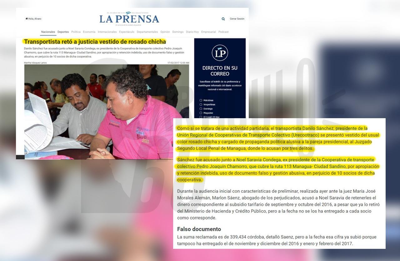 Sánchez fue llamado ante el Juzgado Sexto Local Penal de Managua donde se presentó vistiendo una camisa de propaganda política. Foto: Artículo 66 / Edición: Luis Mejía