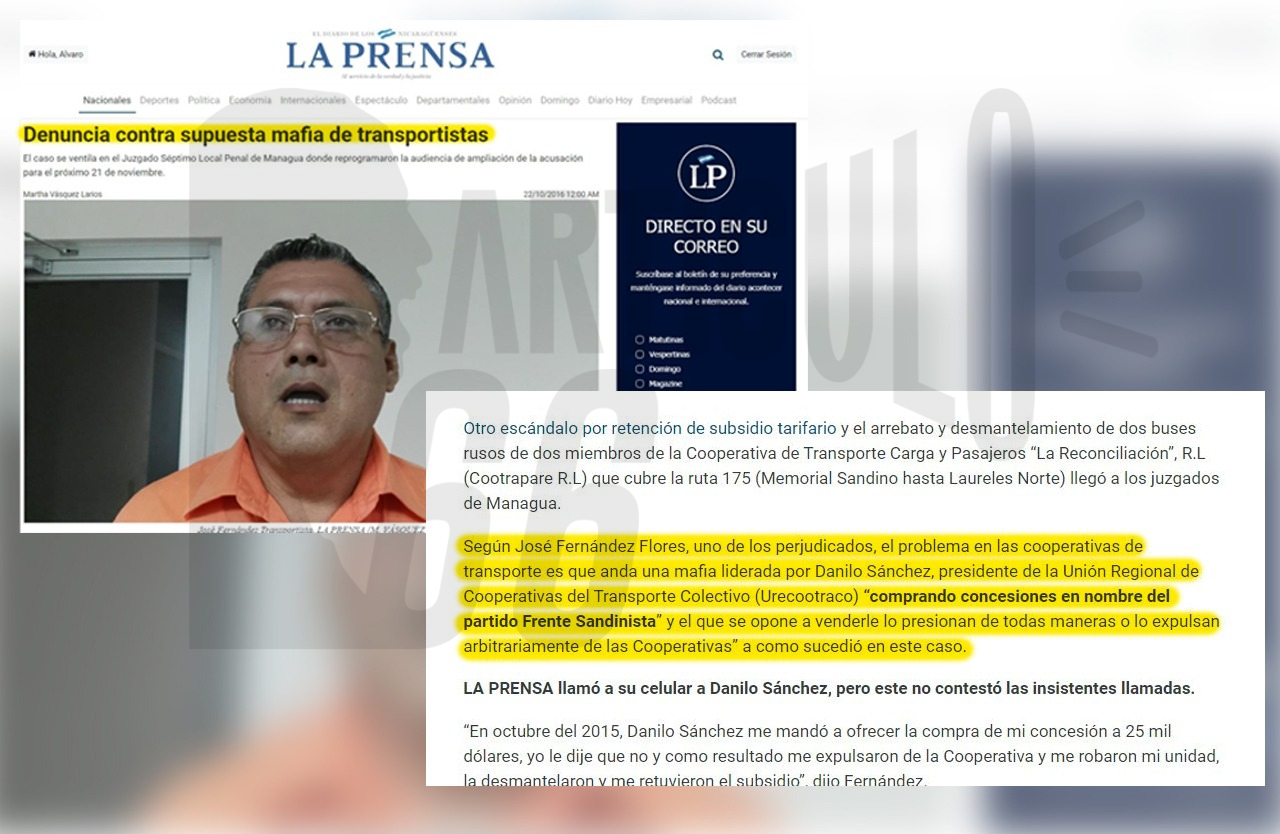También fue acusado por sus socios de presionar y comprar concesiones en nombre del FSLN. Foto: Artículo 66 / Edición: Luis Mejía