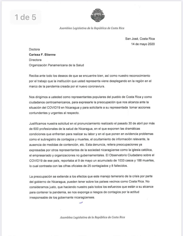 Carta enviada por diputados costarricenses a la directora de la OPS, Carissa Etienne
