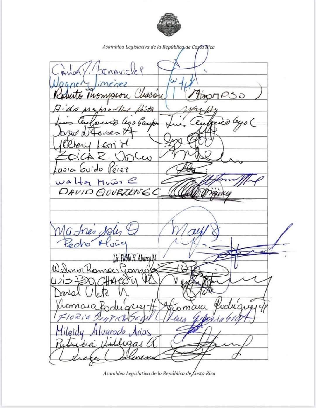 Firmas de los diputados de la Asamblea Legislativa de Costa Rica
