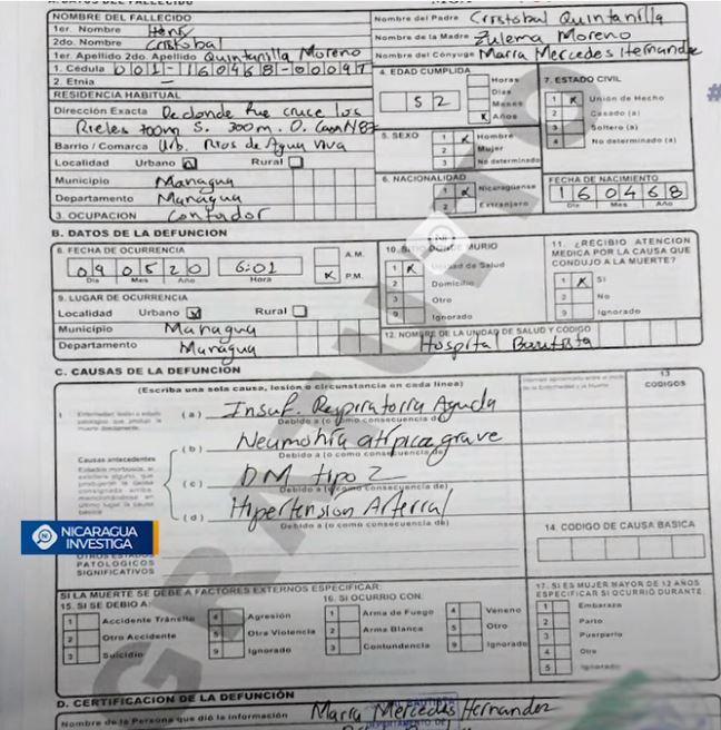 Acta de Defunción del trabajador de la UNAN que, según su familia, falleció por COVID-19, aunque el documento dice otra cosa: Foto: Tomada de Nicaragua Investiga.