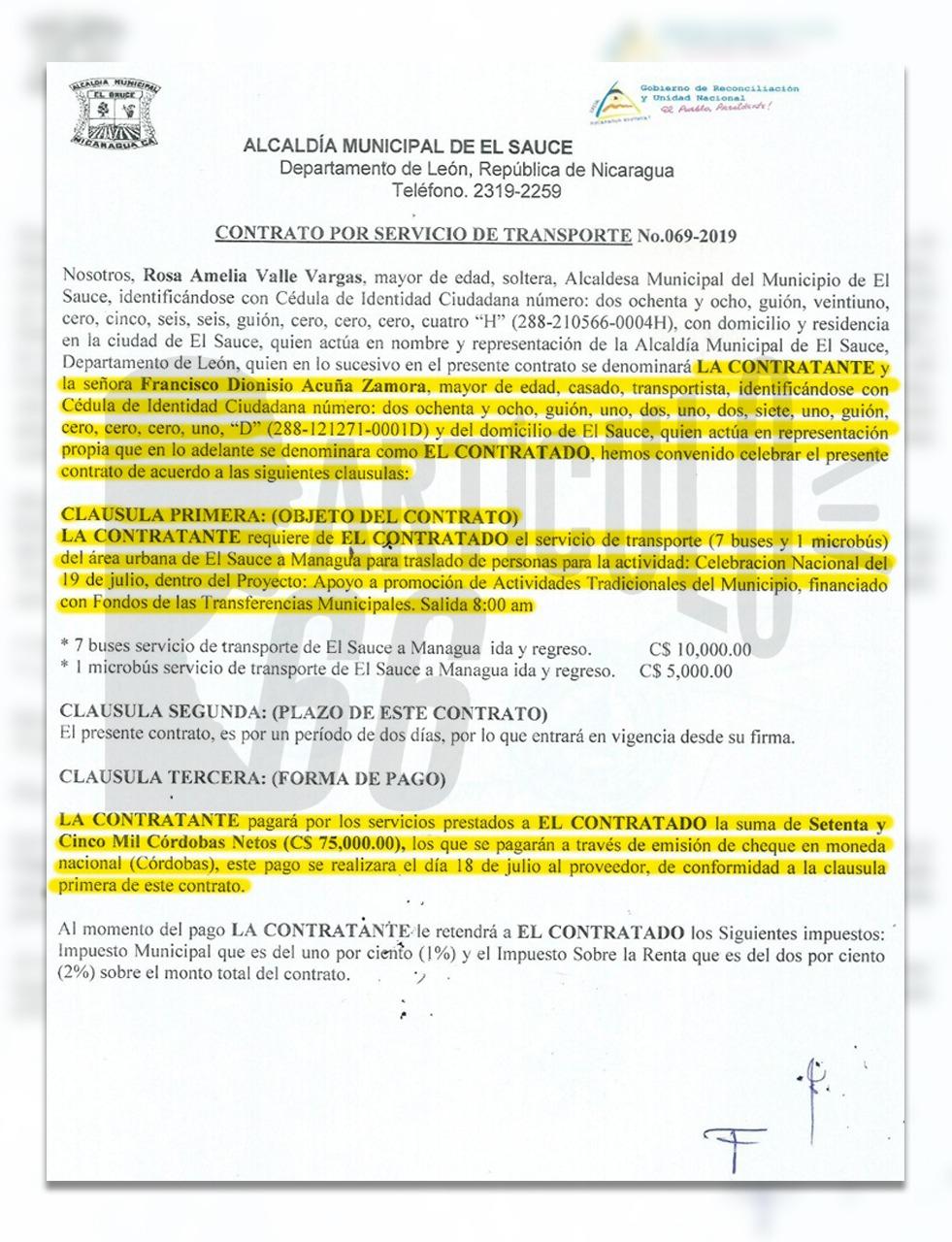 Uno de los contratos que la Alcaldía de El Sauce otorgó a Francisco Dionisio Acuña. Foto: Artículo 66 / Edición: Luis Mejía