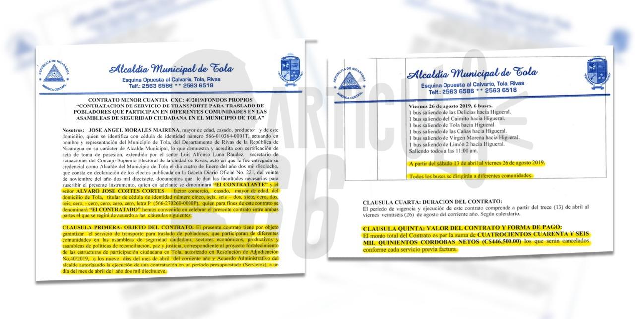 La Municipalidad de Tola, en Rivas «premió» con 10 contratos con más valor al ciudadano identificado como Álvaro José Cortés. Foto: Artículo 66 / Edición: Luis Mejía