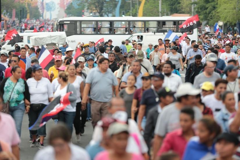 El 9 de mayo 2018, en la actividad progobierno: Unidos en un solo corazón y clamor: cientos de miles de nicaragüenses Cantan por la Paz y el Cariño. Foto: Medios Oficialistas