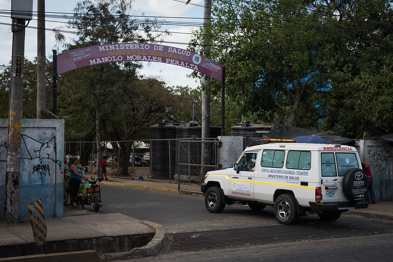 Entrada del hospital Manolo Morales, en Managua. Foto: Sergio Rocha