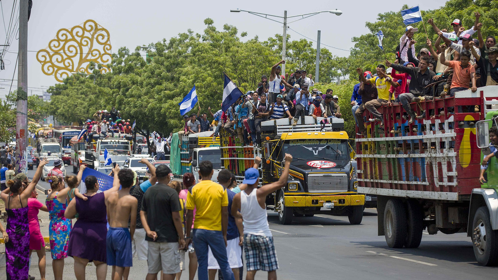 Campesinos llegan a Managua para respaldar la rebelión cívica de los estudiantes. Foto: Jorge Torres | Crédito: EFE