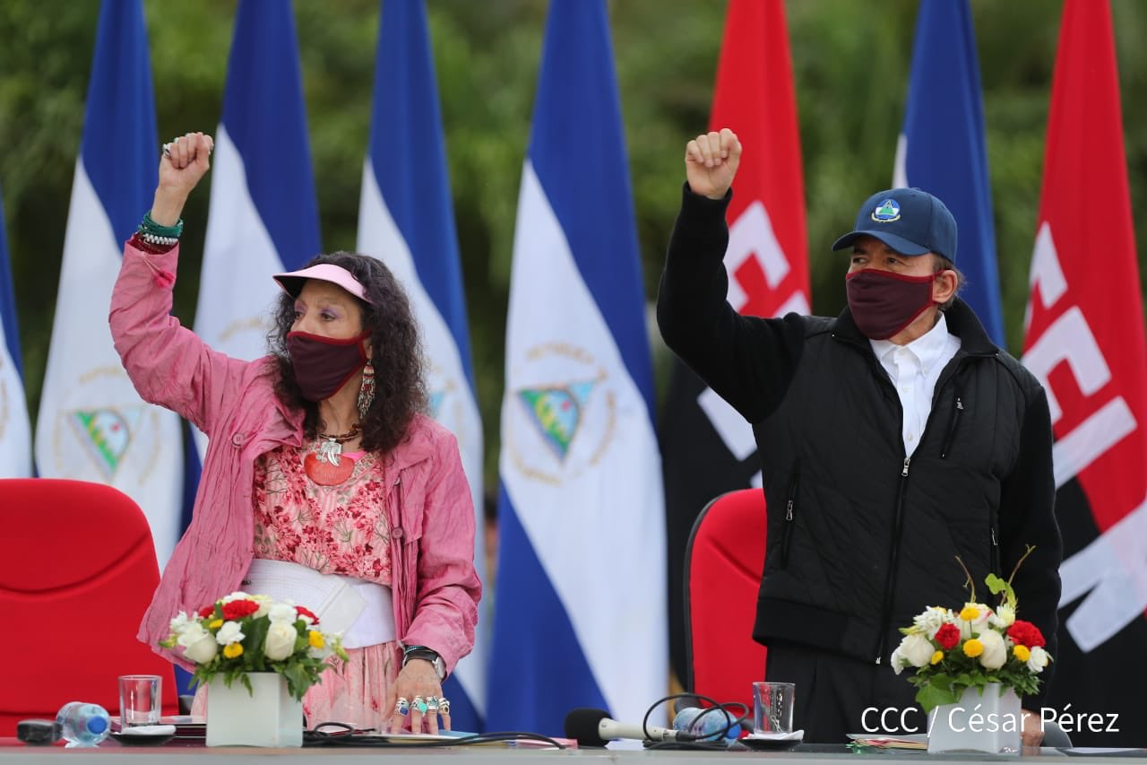 Daniel Ortega reaparece después de 39 días usando mascarilla. Foto: Cortesía