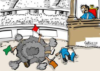 La Caricatura: El dictador disfrutando de los pleitos de la oposición