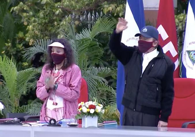Daniel Ortega reaparece después de 39 días usando mascarilla. Foto: Captura de pantalla