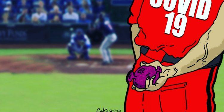 El COVID no juega béisbol. Ilustración: Cako
