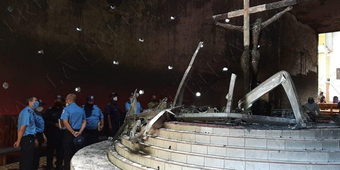 Policía emite segunda versión sobre ataque terrorista en la Catedral de Managua. Foto: La Prensa.