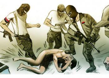 Dictadura de Ortega violó sexualmente hasta con la punta de los fusiles a hombres y mujeres opositoras. Ilustración: Luis González.