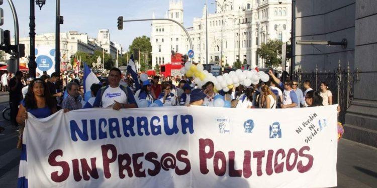 Nicaragüenses en Madrid reactivarán protestas para exigir libertad de presos políticos. Foto: Cortesía/SOS Nicaragua Madrid