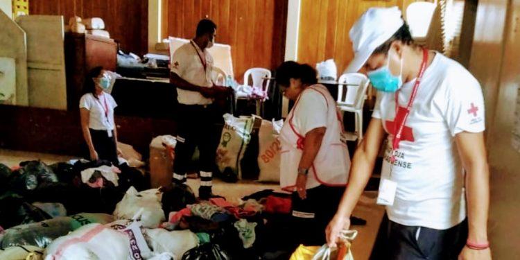 Cruz Roja Masaya recolecta ayuda para damnificados por ETA y IOTA. Foto: Cortesía