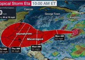 ETA convertida en huracán impactará Bilwi la madrugada del martes con vientos de 120 km por hora. Foto: Internet