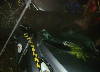 Dos fallecidos al caer árbol sobre un taxi en Managua. Foto: RRSS.