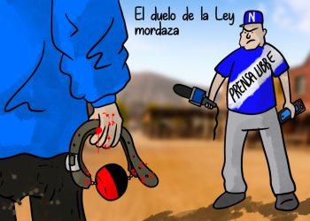 La caricatura: El Duelo de la Ley Mordaza