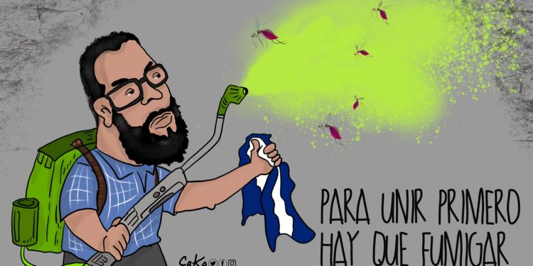 La Caricatura: Limpia azul y blanco