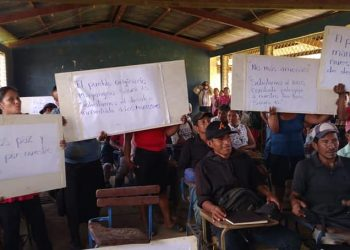 Comunidades mayagnas exigen salida de colonos de sus territorios y protección efectiva del estado. Fotos: Redes Sociales CEJUSPEM.