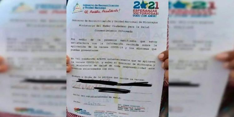 OPS «no recomienda» que Nicaragua obligue a los ciudadanos firmar para aplicarse vacuna contra COVID-19. Foto: tomada de internet