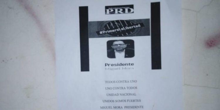 Aparece propaganda de campaña de Miguel Mora en Masaya. Foto: Cortesía