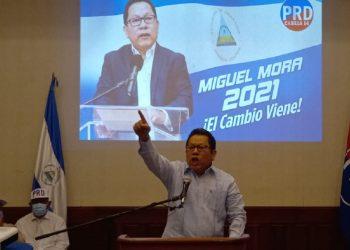 PRD es la casilla electoral de la Coalición Nacional dijo Saturnino Serrato en lanzamiento de candidatura de Miguel Mora quien prometió romper relaciones con dictaduras de Cuba y Venezuela. Foto: N. Miranda/Artículo 66.