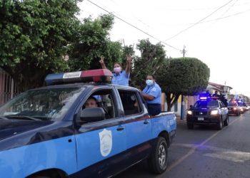 Policía realiza proselitismo político aprovechándose del Día de la Mujer. Foto: León. Gobierno.