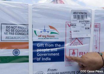 Nicaragua recibe donación de la India de 200 mil dosis de vacunas contra el COVID-19. Foto: CCC