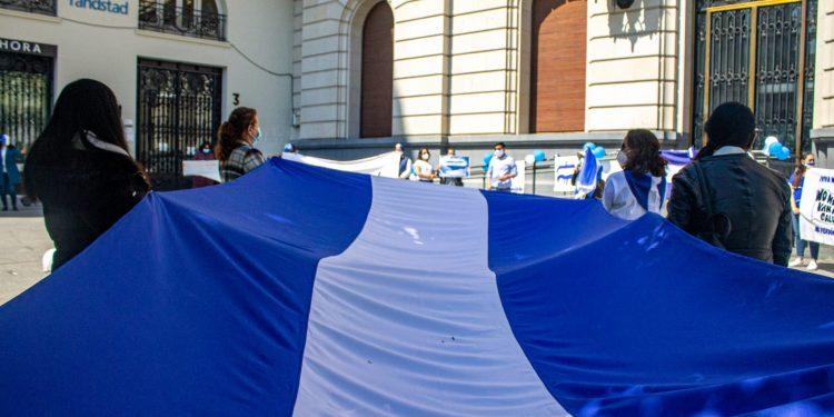 El 18 de abril de 2021, la comunidad de nicaragüenses en Zaragoza  protestaron contra el régimen de Ortega. Foto: SoyNica