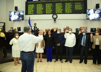 Nuevos magistrados de Daniel Ortega en el CSE juramentados por la Asamblea Nacional. Foto: Medios oficialistas.