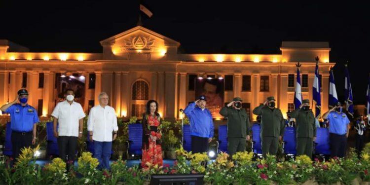Daniel Ortega y sus aliados celebrando el natalicio de Sandino